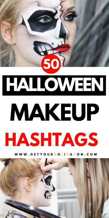 Get ready to kick off those Halloween looks with these Halloween Hashtags for Makeup! If you like to show off your Sugar skull makeup or insta share a makeup transformation! We have rounded up a ton of Makeup Hashtags to make things easier for you right here!  #makeup #halloweenmakeup #glam #gore