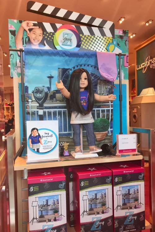 7 Tips For A Magical Experience To An American Girl Store! As soon as you walk through the doors at American Girl there are adorable displays showing many dolls in different situations. Some of the dolls include books with storylinesthat are relatable and inspirational for young girls.#momhacks #momtips #travel #americangirl