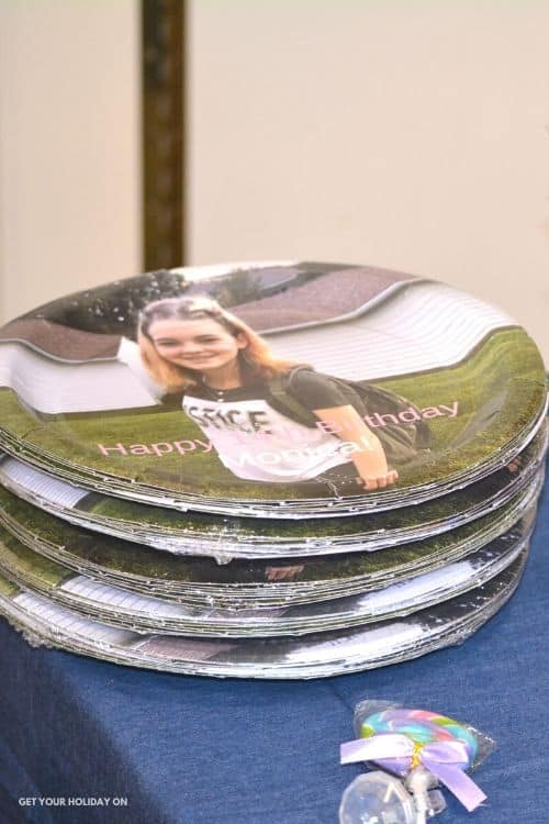 Personalized Bday plates for a Diamond Theme party for teens!