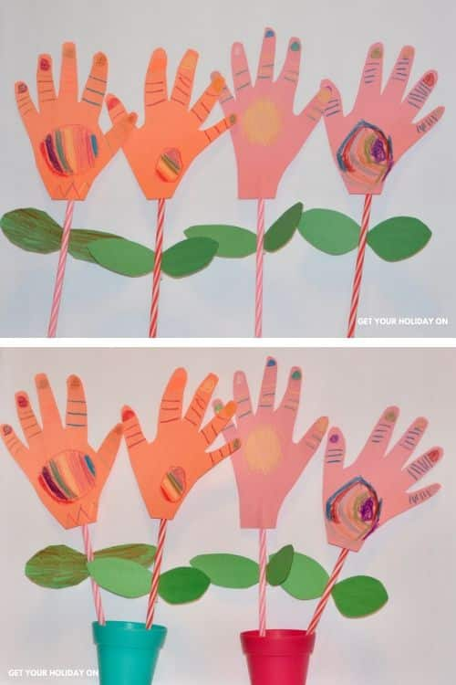 paper craft flowers bouquet with handprints from kids.