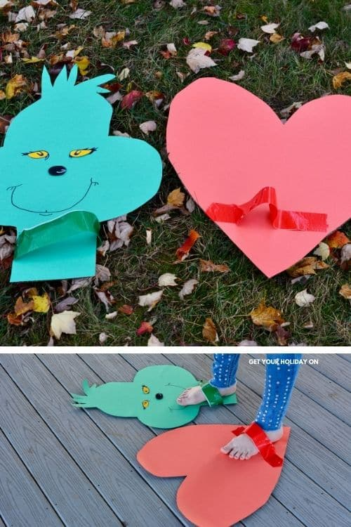 The grinches face on the cardboard as well as his large heart on cardboard for the craft as well.