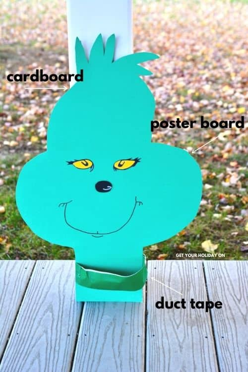 how to make the grinch face for the games out of cardboard, poster board, and duct tape.