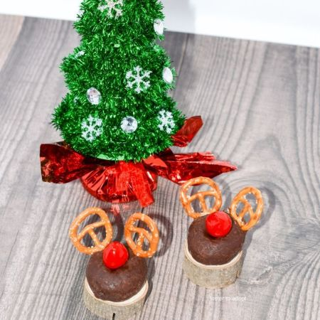 donuts made into reindeers for a fun holiday treat.