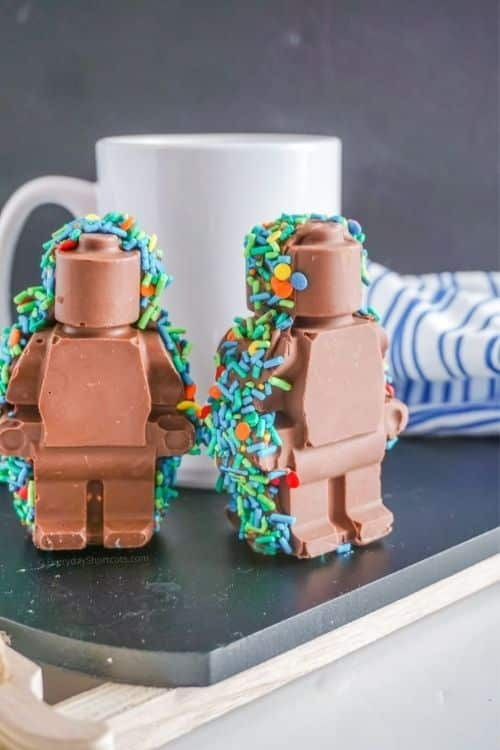 lego hot chocolate bomb boys and girls will go crazy for these sprinkled characters that they can put in their hot chocolate.