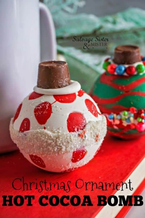 diy ornament chocolate bombs with hot cocoa mix.