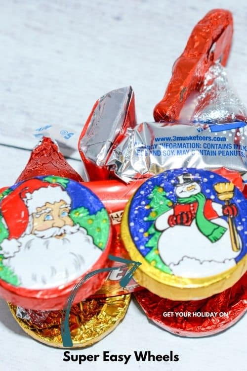 Candy Santa Sleigh wheels made out of silver dollar candies.