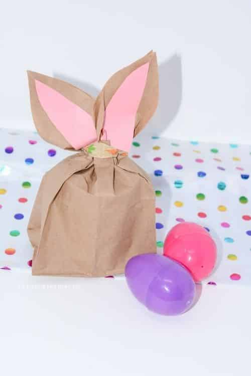 Learn how to make easter bunny bags  out of a paper bag.