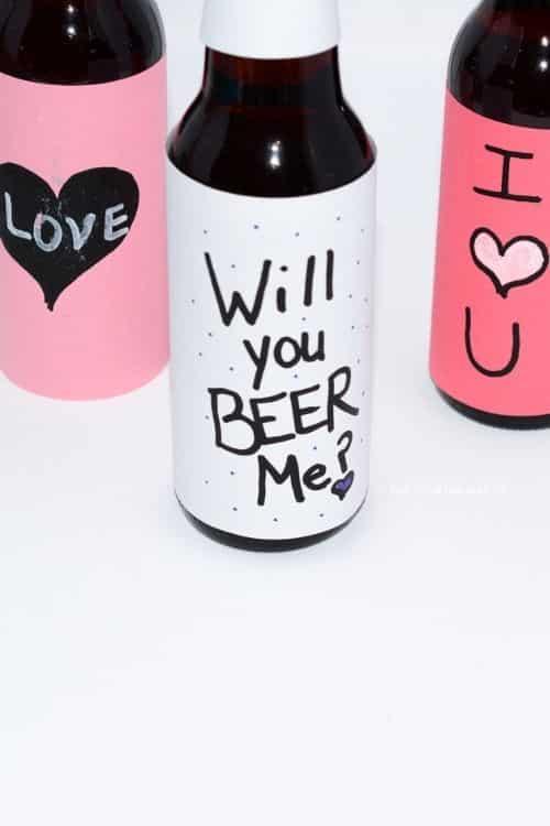Secret messages written on beer bottles for fun diy gifts for guys.