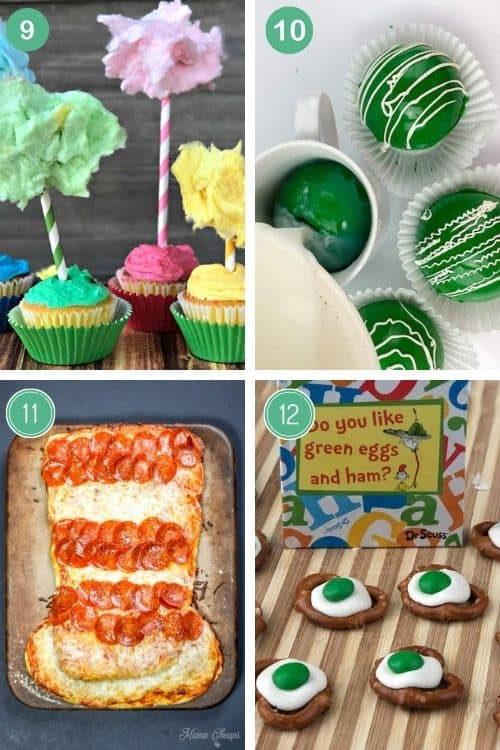 Cupcakes, Seuss hot Chocolate bombs, cat in the hat pizza, and green eggs pretzel bites are just some of the best dr. Seuss party ideas we've rounded up.