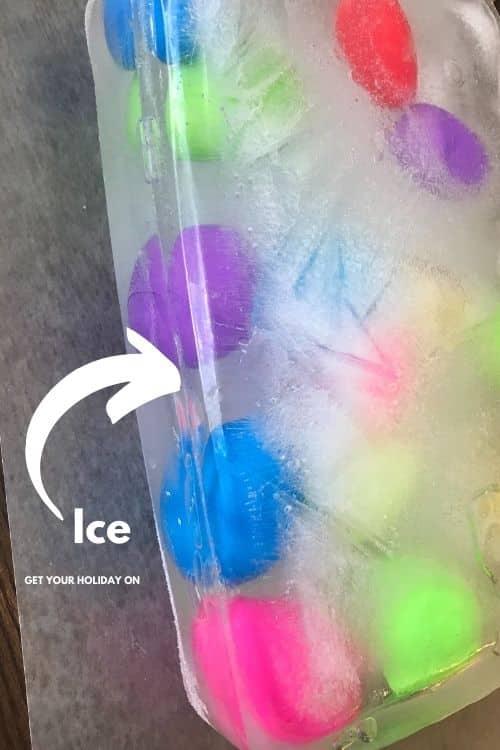 Frozen eggs in ice.