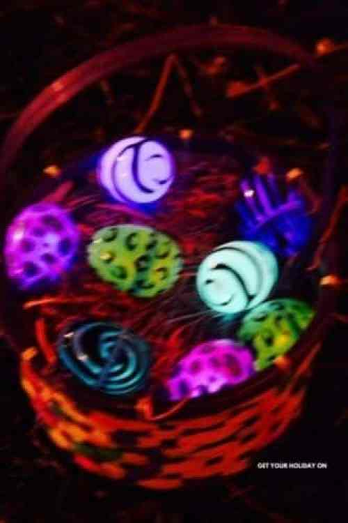 Glowing eggs that light up in the dark for an Easter egg challenge for adults.