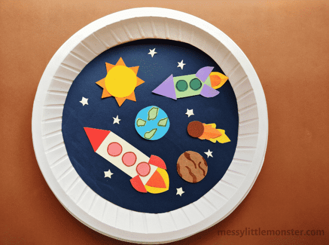 paper plate with space rockets, earth, the moon and sun on it.