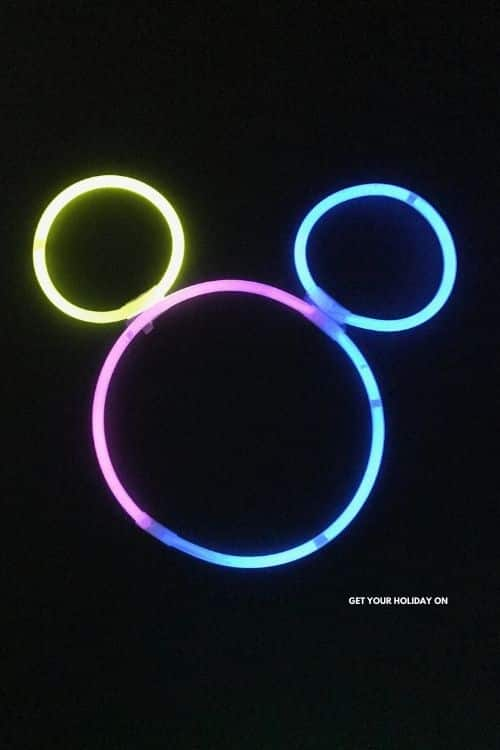 Mickey Mouse made from glowing bracelets and necklaces.