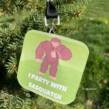 I party with Sasquatch free printable button or necklace.