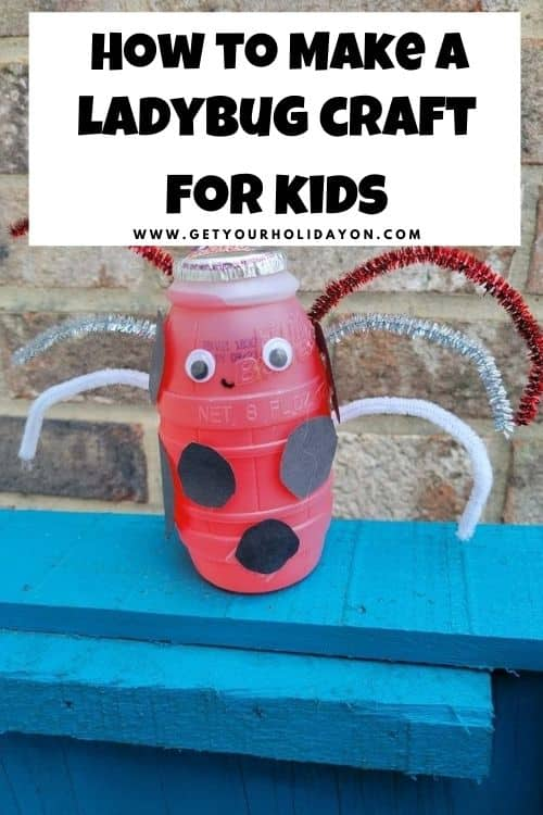 Grab a hug fruit drink, pipe cleaners, googly eyes, and black construction paper and make this simple ladybug craft for kids.