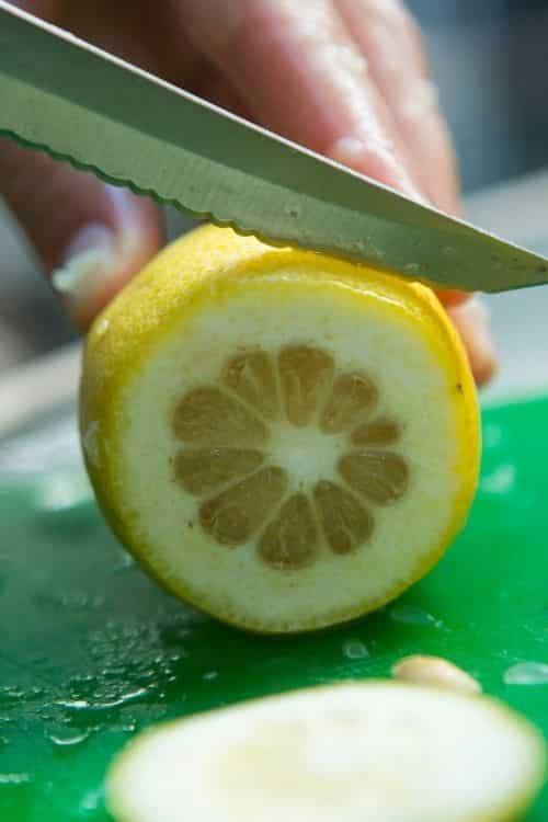 cut up lemon for easy lemonade.