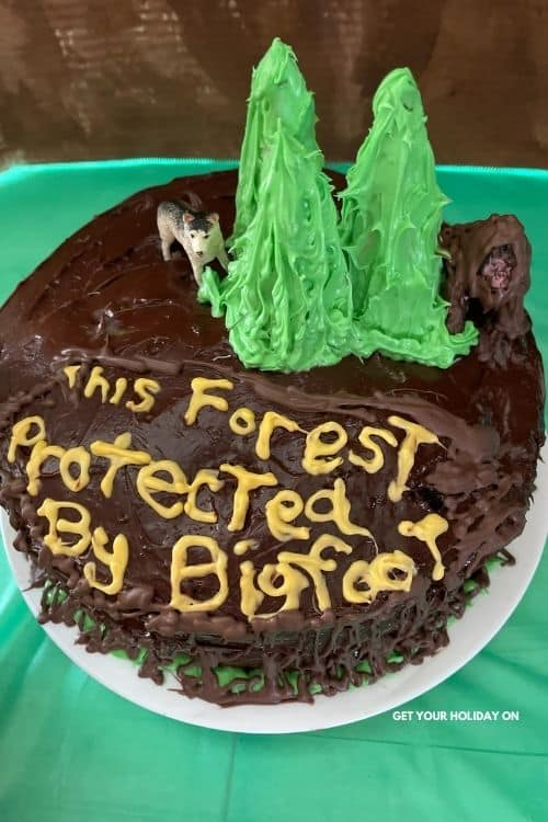Bigfoot cake ideas for a fun summer treat. This cake includes bigfoot, wild animals, chocolate trees, and this forest is protected by big foot.