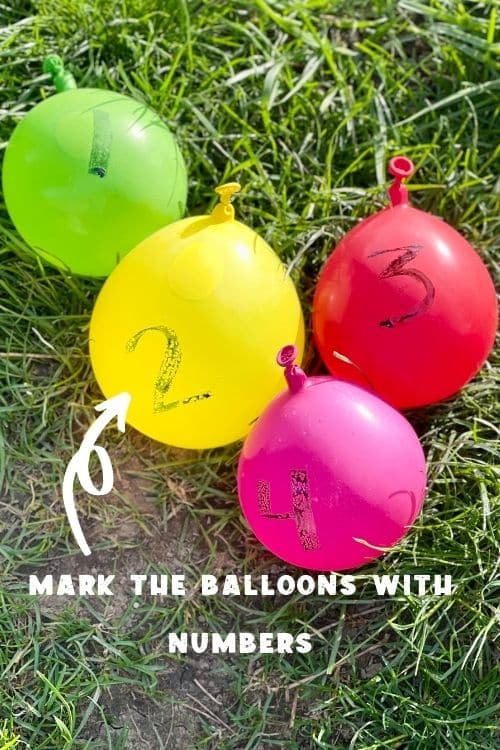 Mark each of the balloons with numbers to play the fun water balloon games.