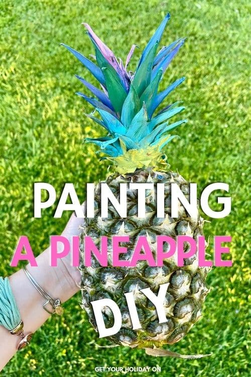 This painting a pineapple diy is fun, an easy craft, and requires little effort to make and is great for table decor at a party.