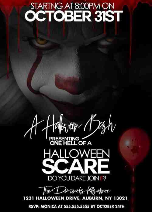 It movie invitation for a halloween bash.