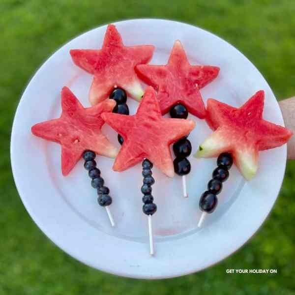watermelon star wand fruit kabobs.