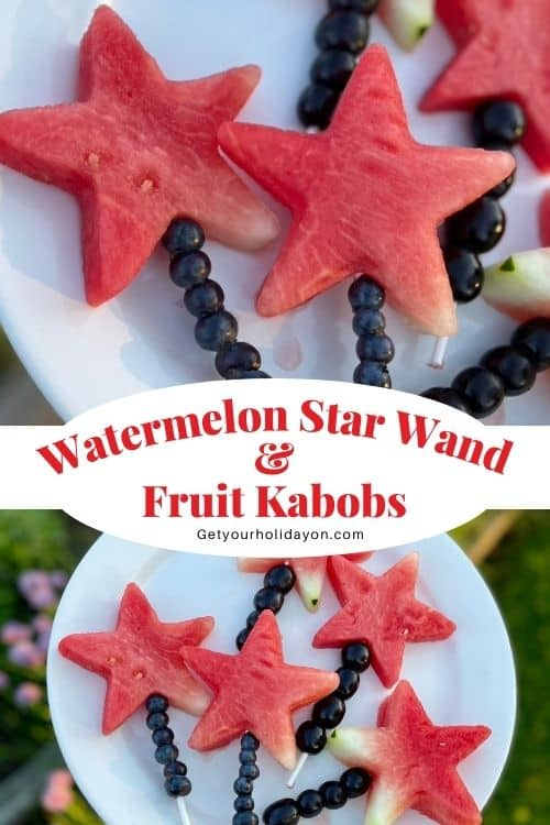 Fruit wands that are watermelon.