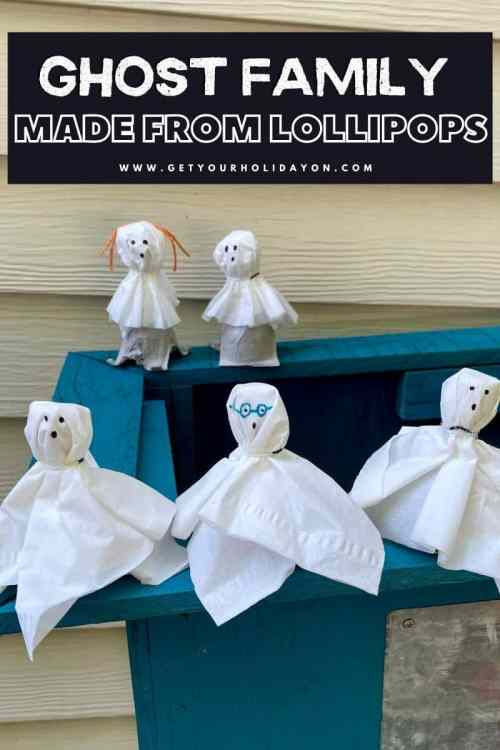 Ghost family craft made from lollipops!