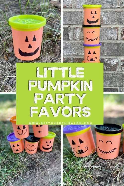 Little pumpkin party favors for Halloween.