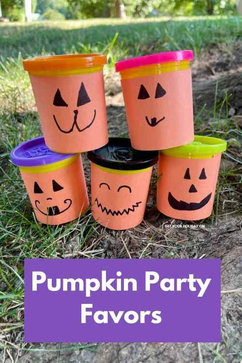 Little pumpkin party favors out of play doh and diy wrappers.