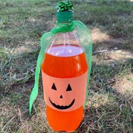 soda pumpkin craft with a 2 liter bottle of orange pop