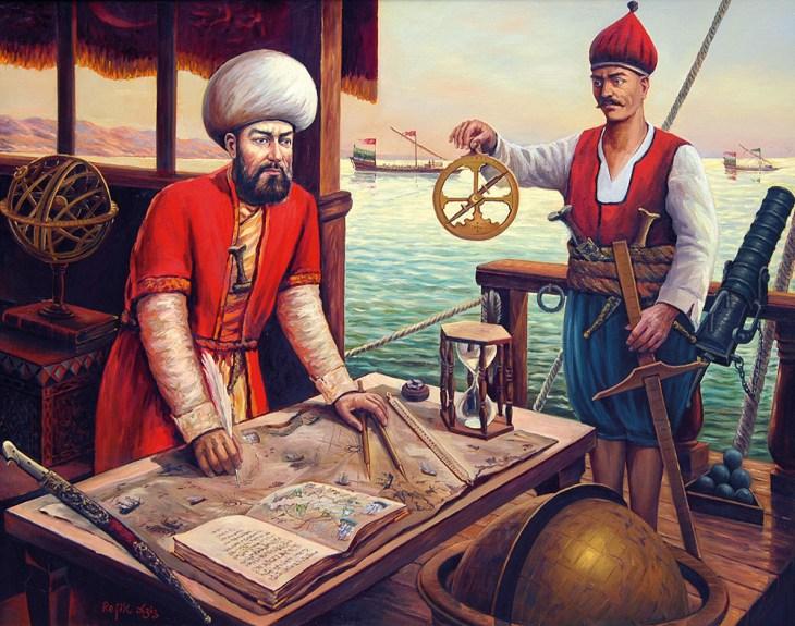 Ressam Refik Aziz'in Piri Reis'i çalışırken resmettiği tablo.