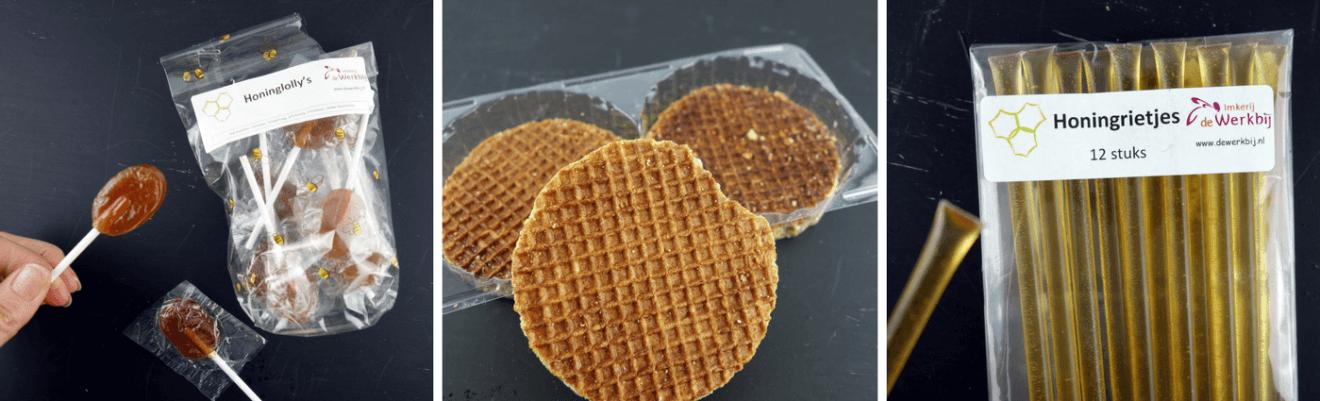 Honing lollie, rietjes en wafels