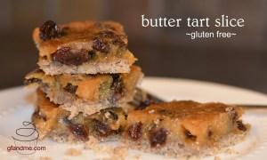 gluten free butter tart slice. gfandme.com