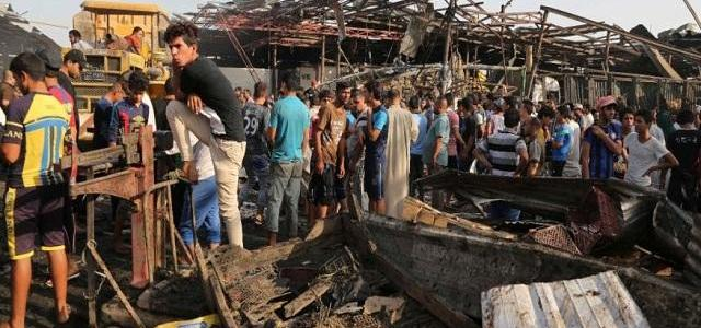 Suicide car bomb driven by ISIS kills 39, and wounding 57 people in busy market place in Baghdad