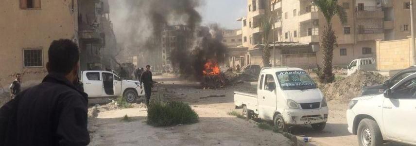 Double car bomb in Raqqa killed at least eight people mostly civilians