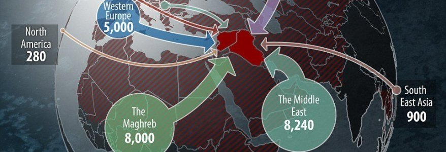 Map shows the 31,000 mercenary gun for hire terrorists from 86 countries who left their homes to join ISIS