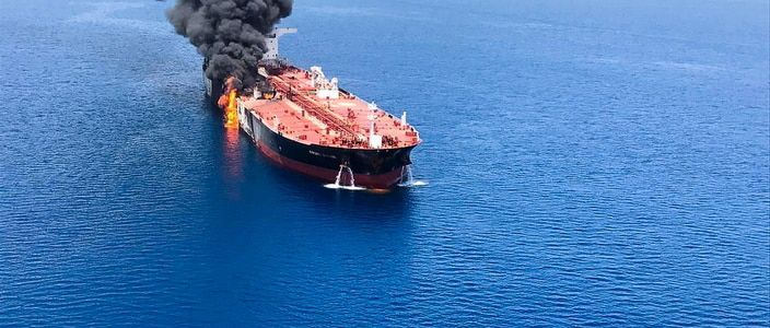 Iranian oil tanker on fire after being hit by rockets in terrorist attack