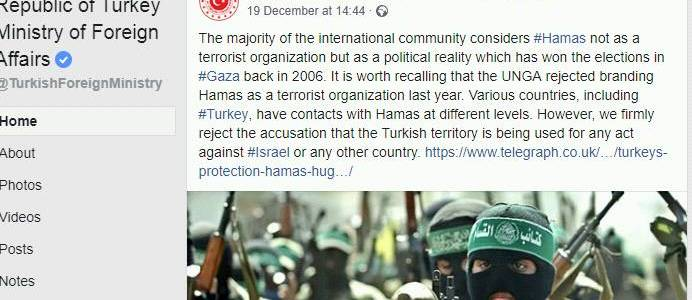 Turkey allows Hamas to conduct terrorist activities from its territory including transfer of funds to finance terrorism