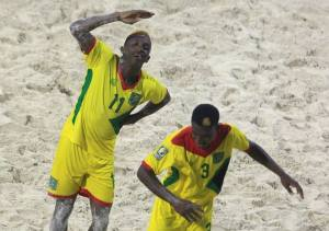 Jamal Haynes (11) celebrates after scoring in game against Belize