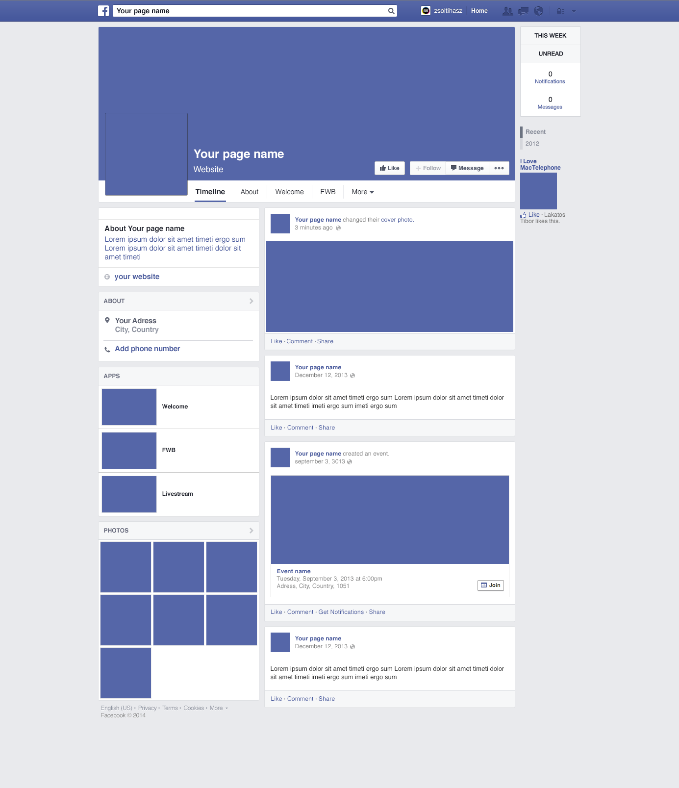 Facebook page mockup - Free Graphics