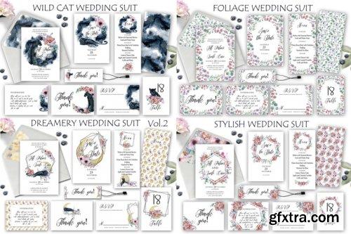 Watercolor Wedding Invitations Suits Giant Bundle Gfxtra
