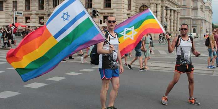 Symbolbild: Israel-Regenbogenflaggen auf der Regenbogenparade 2016