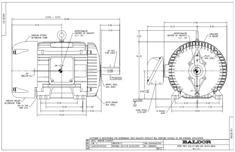 baldor motor frame dimensions