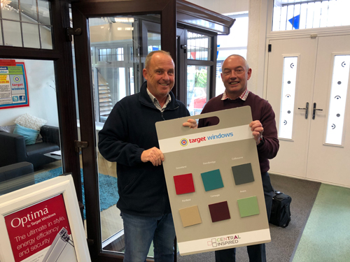 Director, Guy Basnett, and new salesperson, Brian Mitchell, with some of the new colour options at the Target Windows showroom in Stone.Director, Guy Basnett, and new salesperson, Brian Mitchell, with some of the new colour options at the Target Windows showroom in Stone.