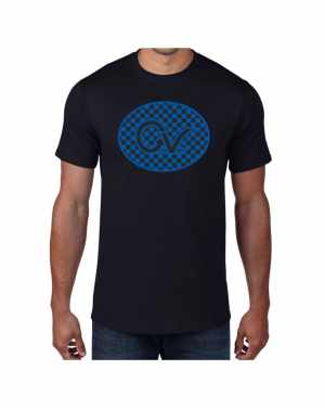 Good Vibes Blue Black Checker Black T-shirt