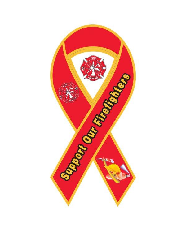 "Fire Department Ribbon Magnet or Sticker for Indoor or Outdoor Use 8"" x 4"""