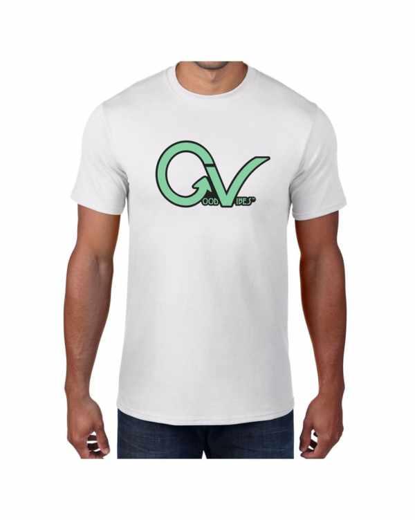 Good Vibes Green GV Logo White T-shirt