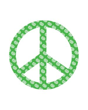 "Peace Sign Green Magnet or Sticker for Indoor or Outdoor Use 6"" x 6"""