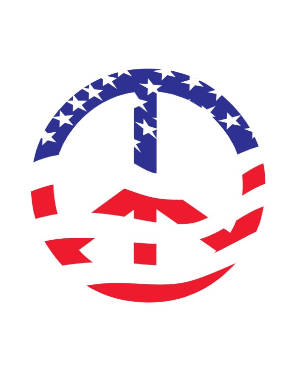 "Peace Sign American Flag Magnet or Sticker for Indoor or Outdoor Use 6"" x 6"""