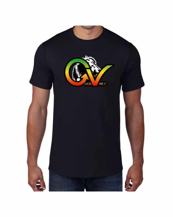 Good Vibes Rastafarian White Lion GV Black T-shirt